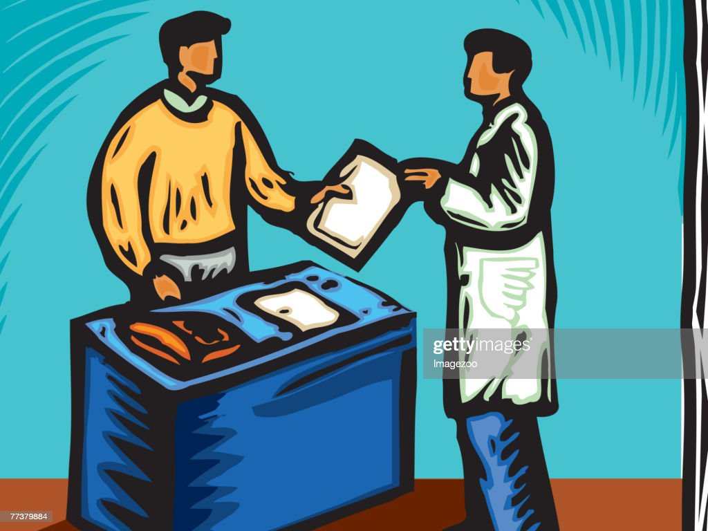 Doctor's assistant handing over a chart : Illustration