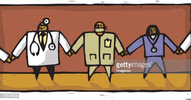doctor's holding hands - operating gown stock illustrations, clip art, cartoons, & icons