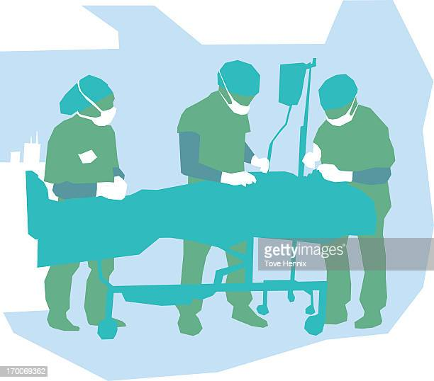 ilustrações, clipart, desenhos animados e ícones de doctors in a surgery - female surgeon mask