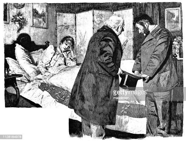stockillustraties, clipart, cartoons en iconen met bezoek van de arts om een zieke vrouw - 1896 - arts culture and entertainment