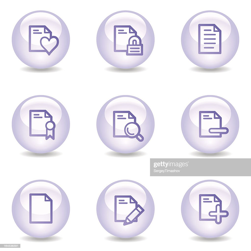 Document web icons, glossy pearl series set 2
