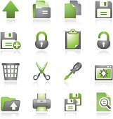 Document web icons, set 1. Gray and green series.
