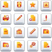 Document web icons, set 2. Red and yellow series.