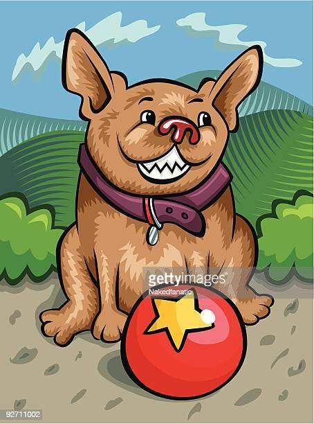 dog and ball - cartoon characters with big teeth stock illustrations