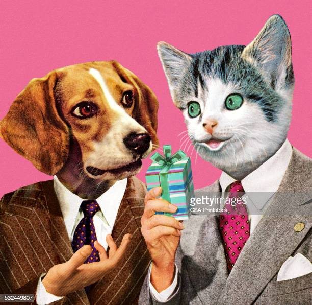 dog and cat businessmen - two animals stock illustrations