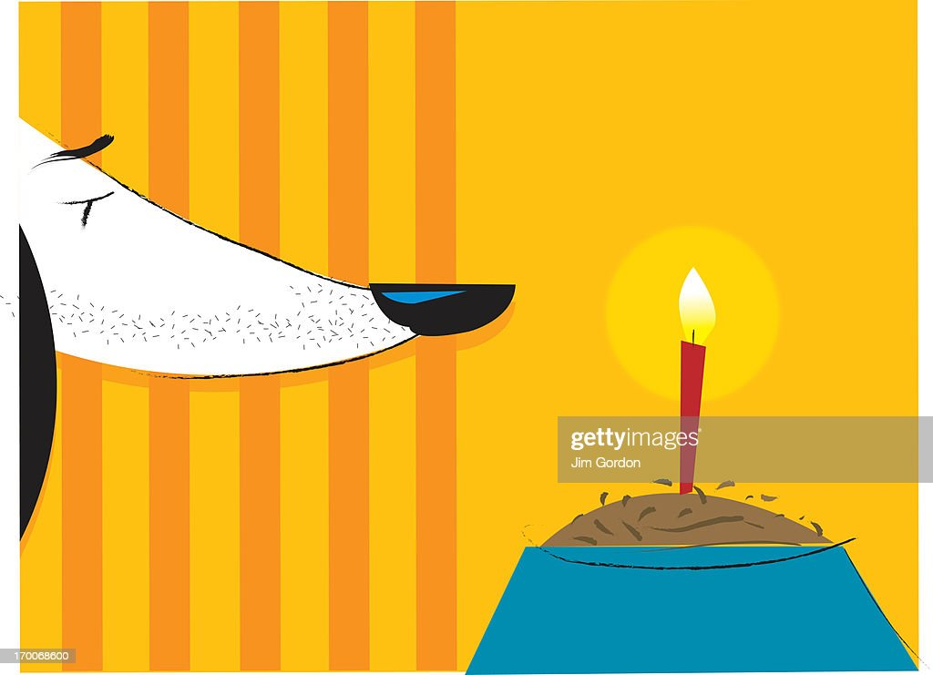 A dog and dog food with a candle in it : stock illustration