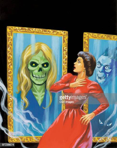 dog attacking woman and devils in the background - gasping stock illustrations, clip art, cartoons, & icons