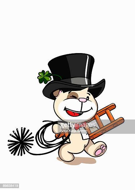 a dog chimney sweep - uniform stock illustrations