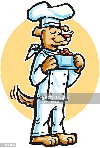 a dog dressed up as a cook carrying a bowl of dog food - dog bowl stock illustrations, clip art, cartoons, & icons