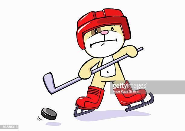 a dog hockey player - ice hockey stick stock illustrations