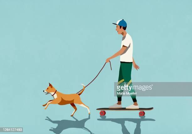 dog on leash pulling boy riding skateboard - transportation stock illustrations