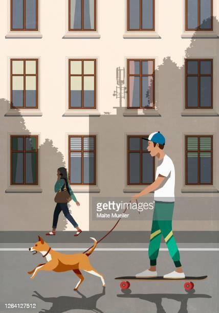 dog on leash pulling boy riding skateboard on city street - road stock illustrations