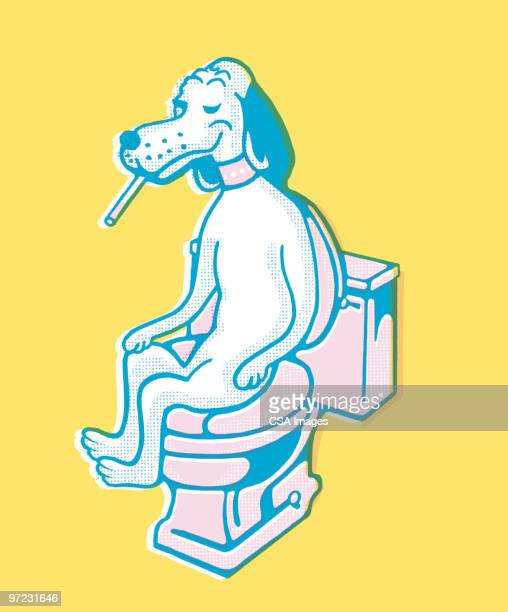dog on the toilet - bathroom stock illustrations