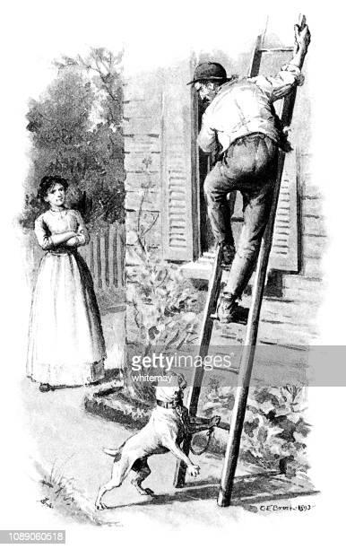 stockillustraties, clipart, cartoons en iconen met hond terroriseert een man op een ladder - american bulldog