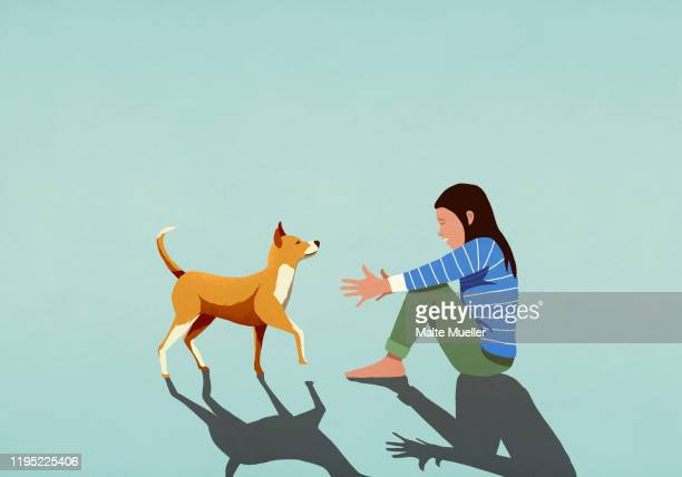 dog walking toward woman with arms outstretched - friendship stock illustrations