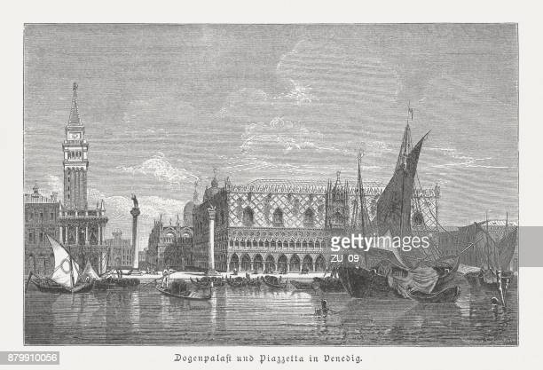 doge's palace and piazzetta, venice, italy, wood engraving, published 1883 - venice italy stock illustrations, clip art, cartoons, & icons