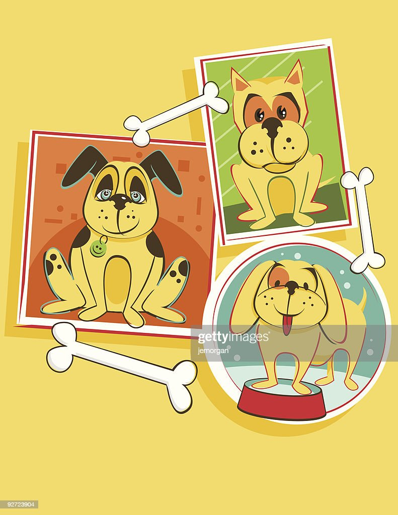 dogs with bones : stock illustration