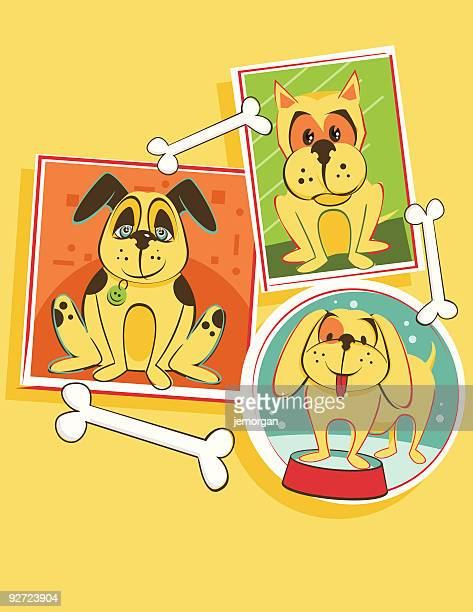 dogs with bones - dog bowl stock illustrations, clip art, cartoons, & icons