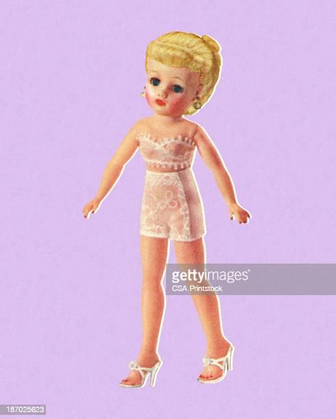 doll wearing undergarments - bra stock illustrations, clip art, cartoons, & icons