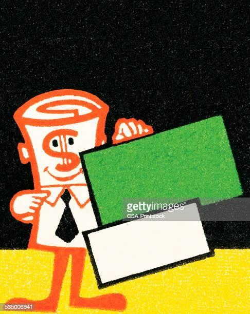 ilustraciones, imágenes clip art, dibujos animados e iconos de stock de dólar lección - fajo de billetes