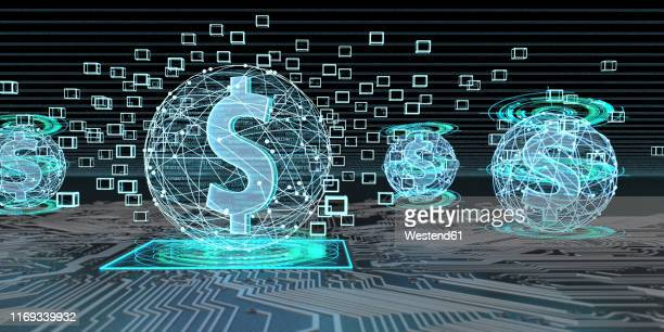 dollar currency based on blockchain technology, 3d illustration - digital enhancement stock illustrations