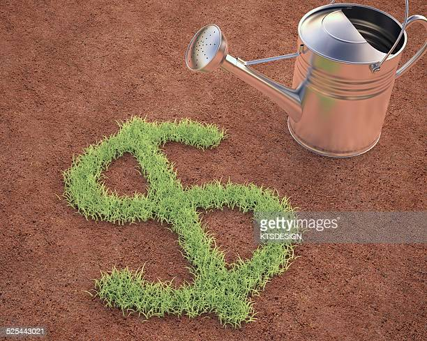Dollar sign and watering can, artwork