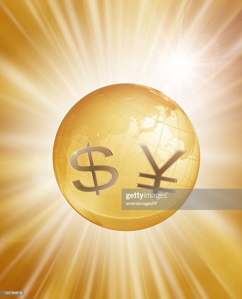 Dollar sign and yen sign with planet earth, against gold futuristic background : Stock Illustration