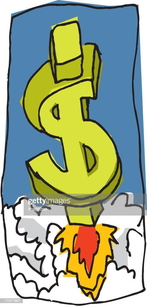 dollar sign rocket : Illustration