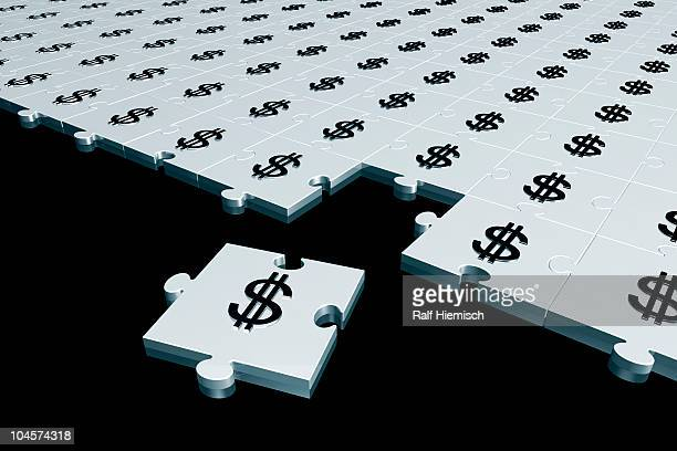 dollar symbol silver puzzle - large group of objects stock illustrations