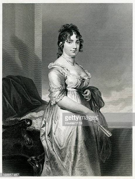 dolley madison - 19th century style stock illustrations