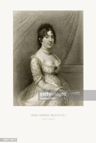 dolly payne, mrs. james madison, engraved portrait of circa 1780 - james madison stock illustrations, clip art, cartoons, & icons