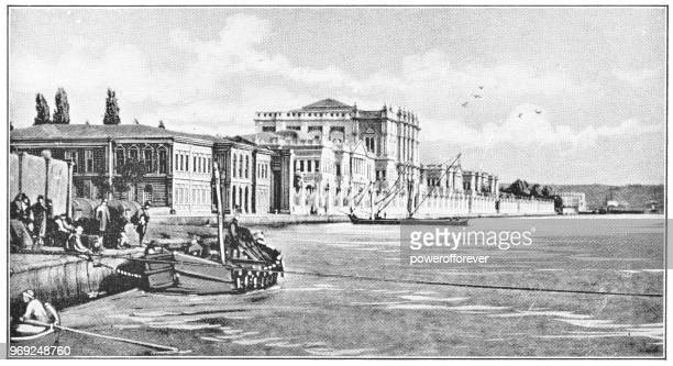 Dolmabahçe Palace on the Bosphorus in Istanbul, Turkey - 19th Century