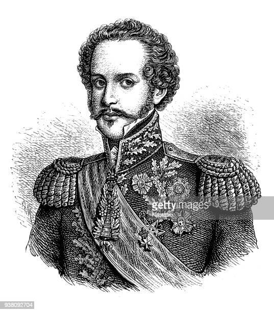stockillustraties, clipart, cartoons en iconen met dom pedro, hij was de zoon van koning john vi van portugal - pedo