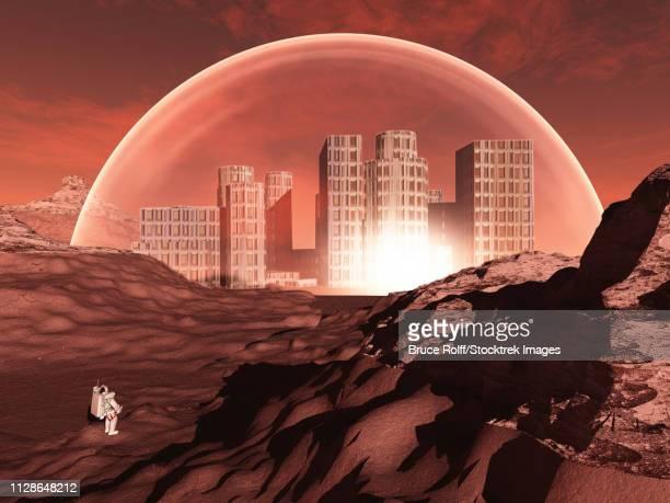 illustrazioni stock, clip art, cartoni animati e icone di tendenza di domed city in inhospitable planet perhaps mars - cupola
