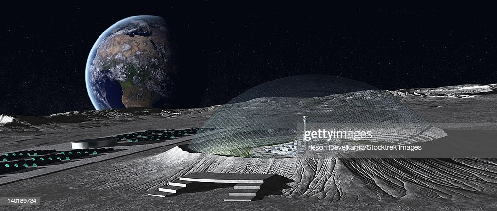 A domed crater is home to a lunar city. Earth rises in the background. : stock illustration
