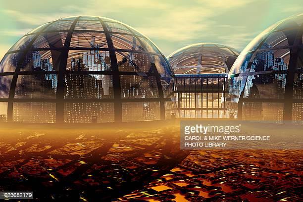 illustrations, cliparts, dessins animés et icônes de domed futuristic city, illustration - ville futuriste