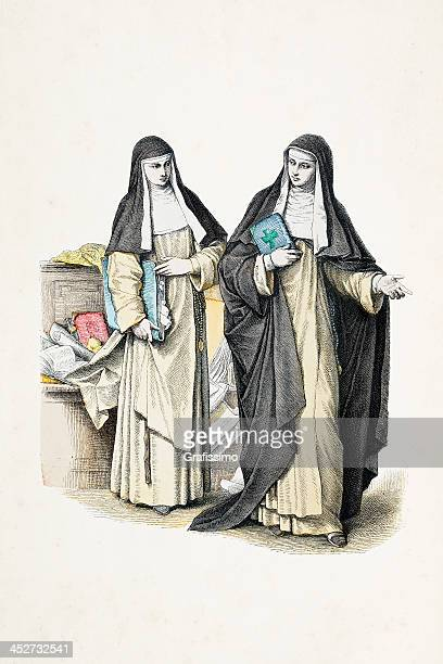 dominican nun with traditional costumes from 19th century - nun stock illustrations