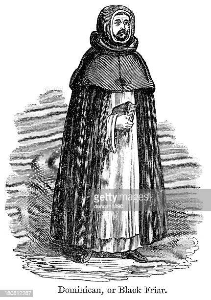 dominican, or black friar - religious dress stock illustrations, clip art, cartoons, & icons