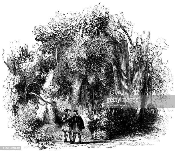 stockillustraties, clipart, cartoons en iconen met don pedro en claudio praten in de boomgaard-werken van william shakespeare - pedo