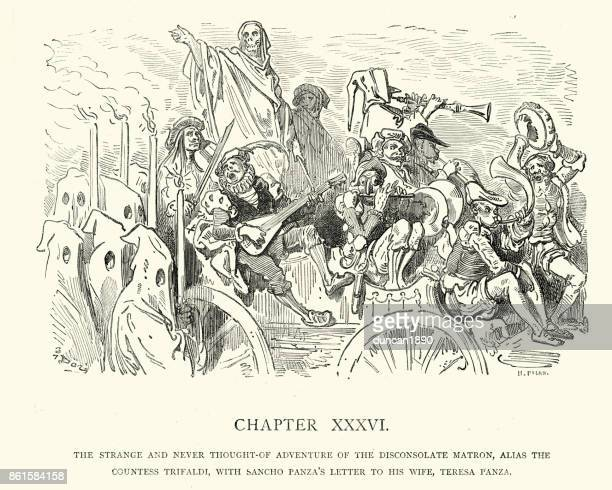 don quixote,  adventure of the disconsolate matron - holy week stock illustrations, clip art, cartoons, & icons