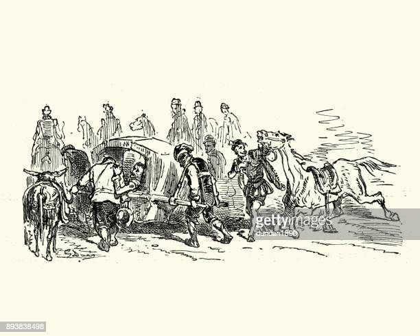 don quixote, carried in a litter - sedan stock illustrations, clip art, cartoons, & icons