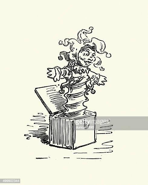 illustrations, cliparts, dessins animés et icônes de don quichotte-jack dans le champ - diable à ressort