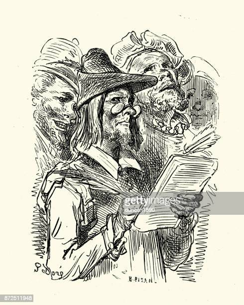 don quixote - writing in the ledger - accounting ledger stock illustrations, clip art, cartoons, & icons