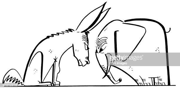 donkey and elephant butting heads - us republican party stock illustrations, clip art, cartoons, & icons