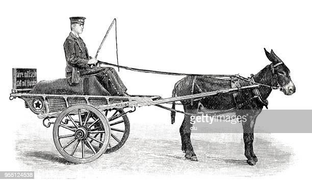 donkey cart with a man sitting on wagon - horse cart stock illustrations, clip art, cartoons, & icons