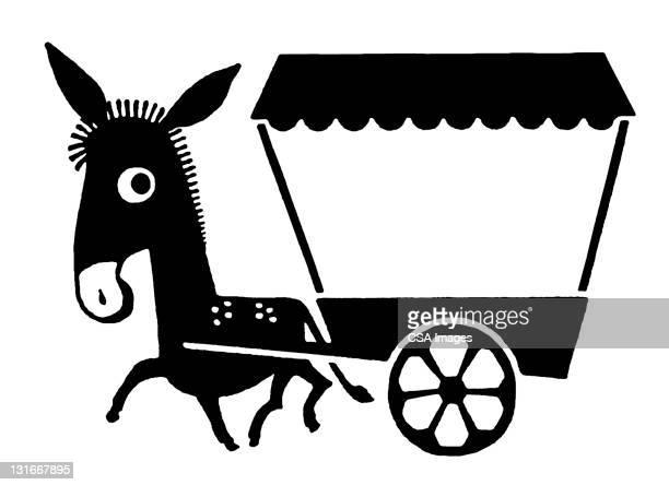 ilustraciones, imágenes clip art, dibujos animados e iconos de stock de donkey pulling cart - mula