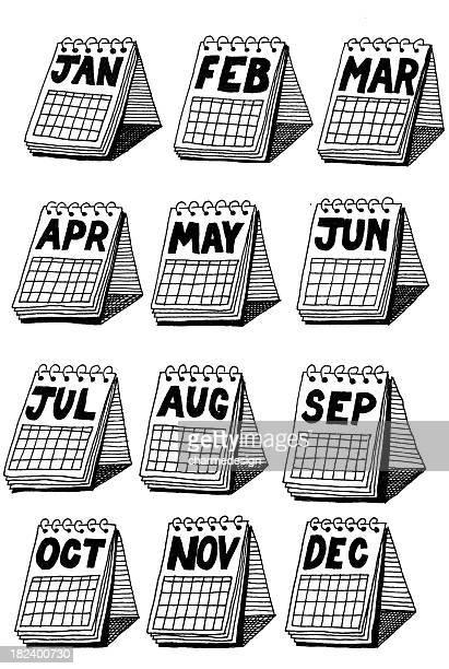 illustrations, cliparts, dessins animés et icônes de doodle calendrier de bureau - mois de mai