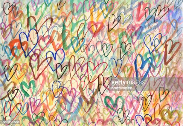 doodle hearts arty background - valentine card stock illustrations