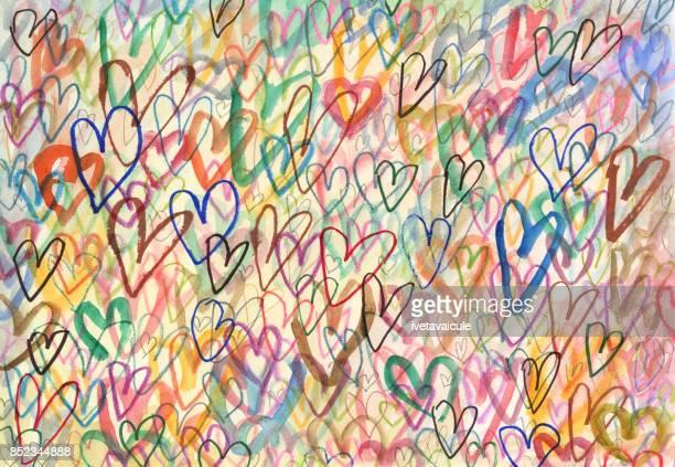 Doodle de corazones fondo arty