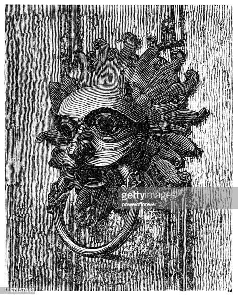 illustrations, cliparts, dessins animés et icônes de door knocker à la cathédrale de durham à durham, angleterre - 19ème siècle - marteaudeporte